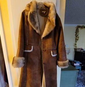 Long leather winter coat